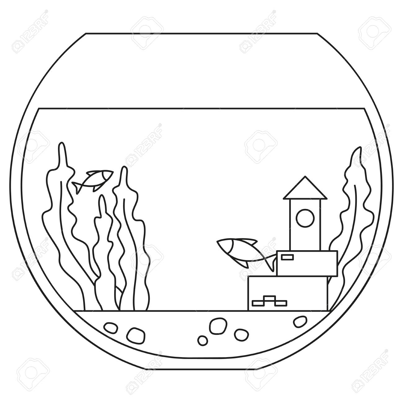 Line Art Black And White Round Fish Aquarium Coloring Page For