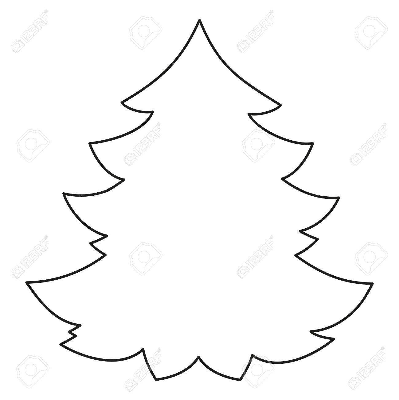 - Line Art Black And White Christmas Tree. Coloring Book Page For
