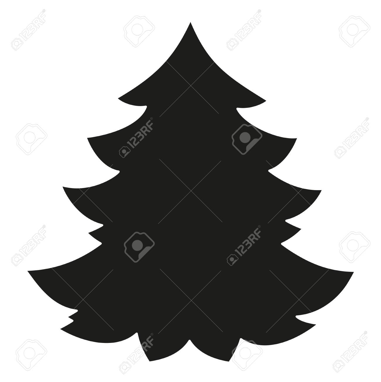 Christmas Tree Clipart Silhouette.Black And White Christmas Tree Silhouette New Year Holiday Themed