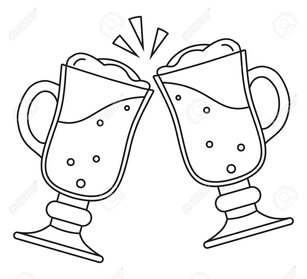 Line Art Black And White Two Fancy Beer Glass. Coloring Book Page ...