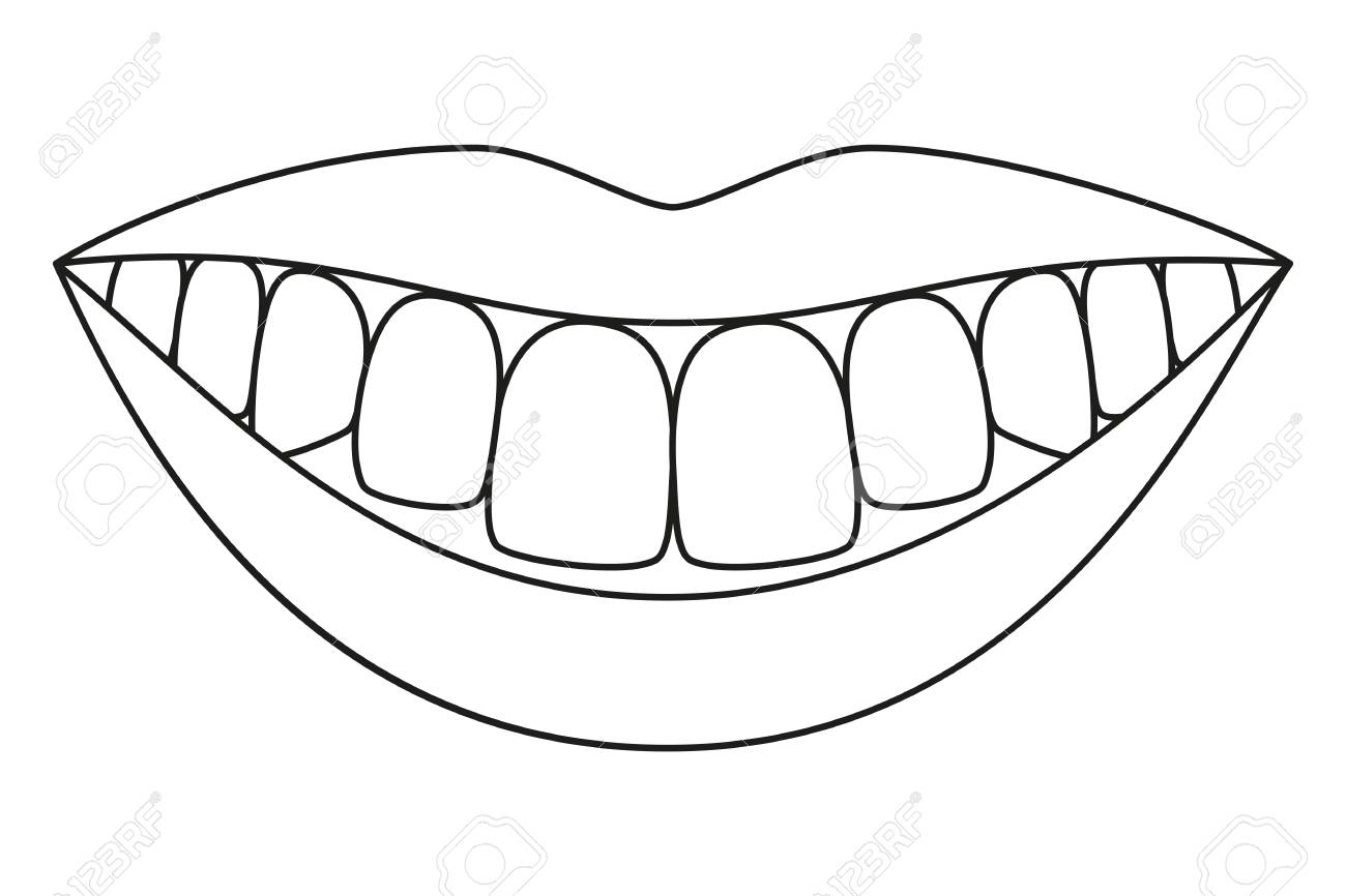 Line art black and white healthy smile. Coloring book page for adults and kids. Dental care vector illustration for icon, sticker, logo, stamp, label, badge, certificate, leaflet or banner decoration - 111934247
