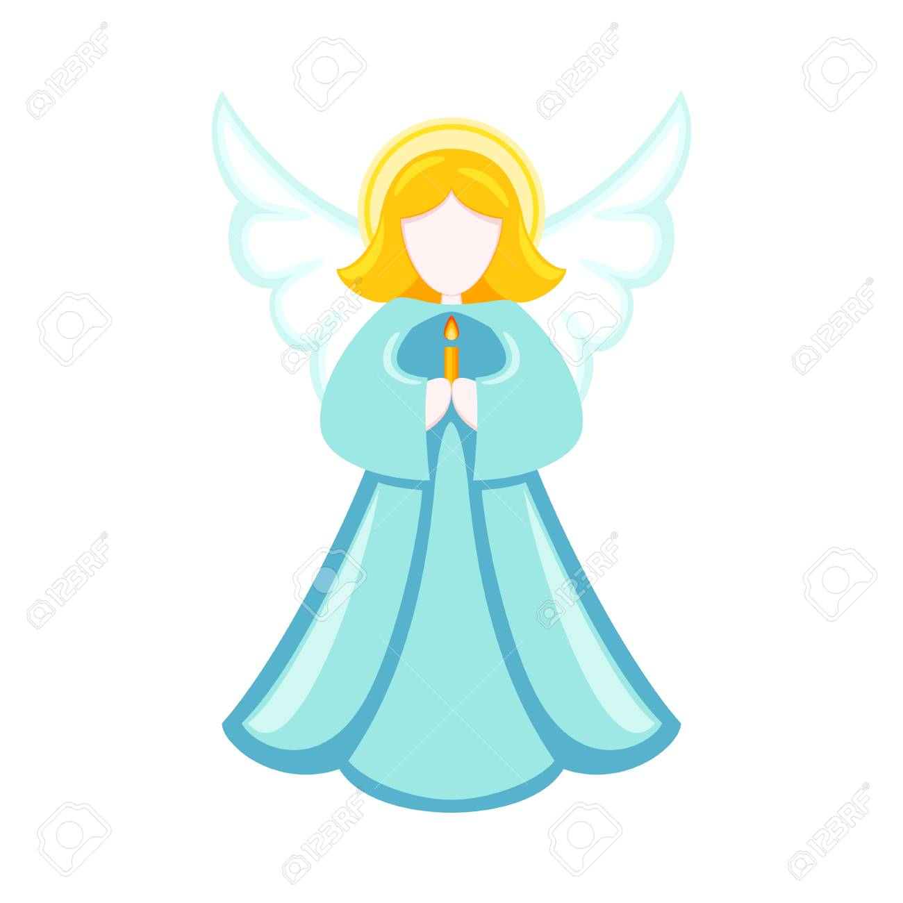 Colorful cartoon christmas angel. Religion symbol. Xmas themed vector illustration for icon, logo, stamp, label, badge, certificate, poster or gift card decoration - 108120363