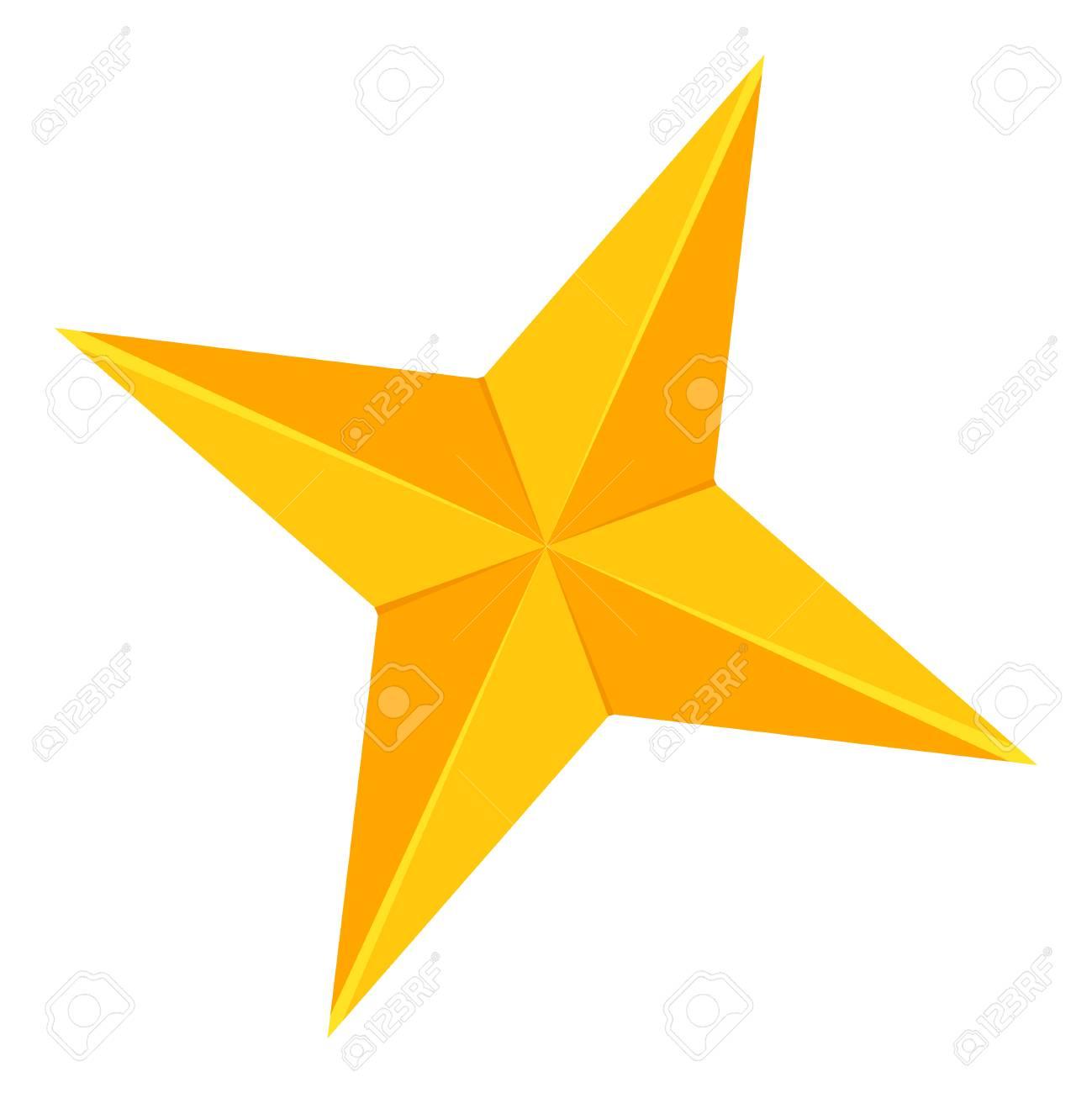 Colorful Cartoon 4 Point Golden Star Xmas Tree Decoration Symbol