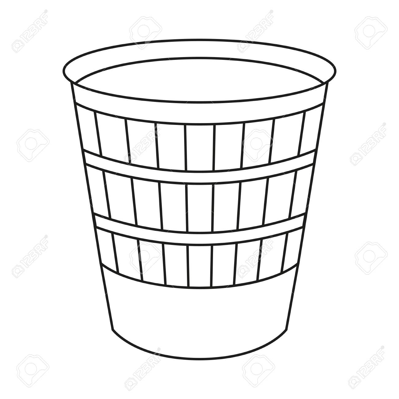Line art black and white trash can. Kitchen garbage container....