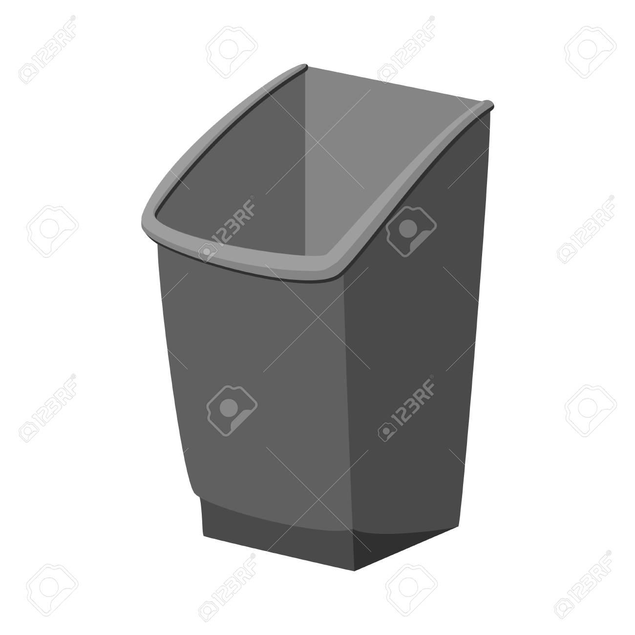 Cartoon grey trash bin. Kitchen garbage container. Waste disposal..