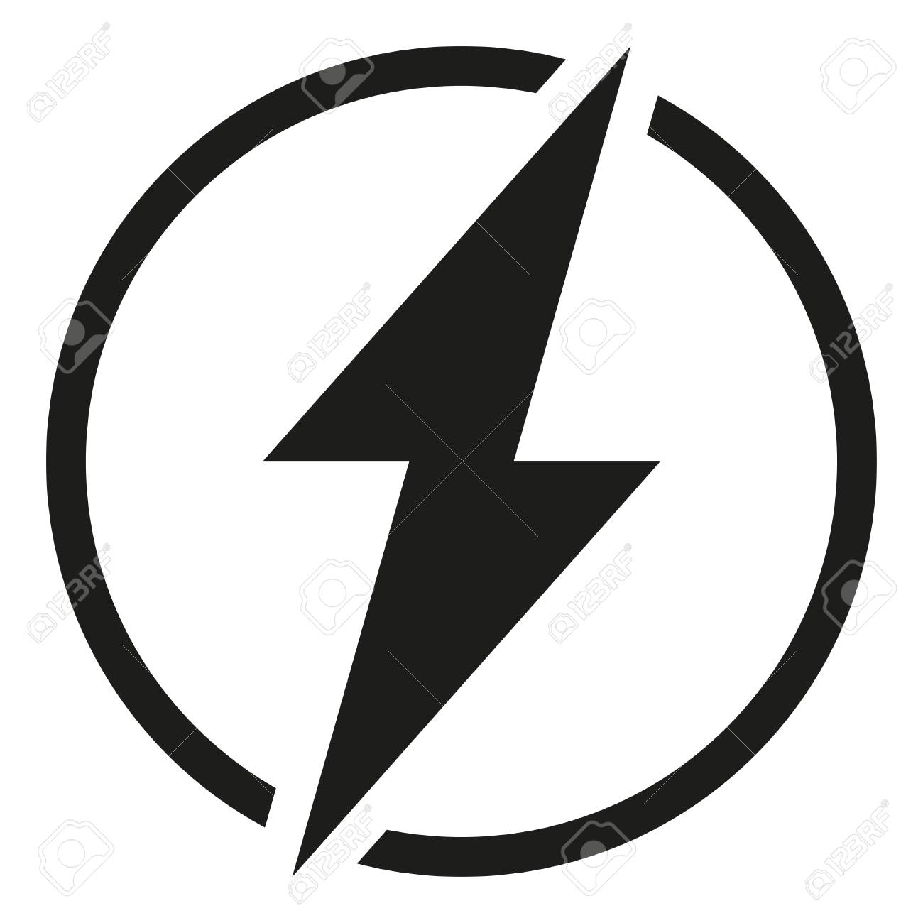 Black and white rounded lightning silhouette  Power energy symbol