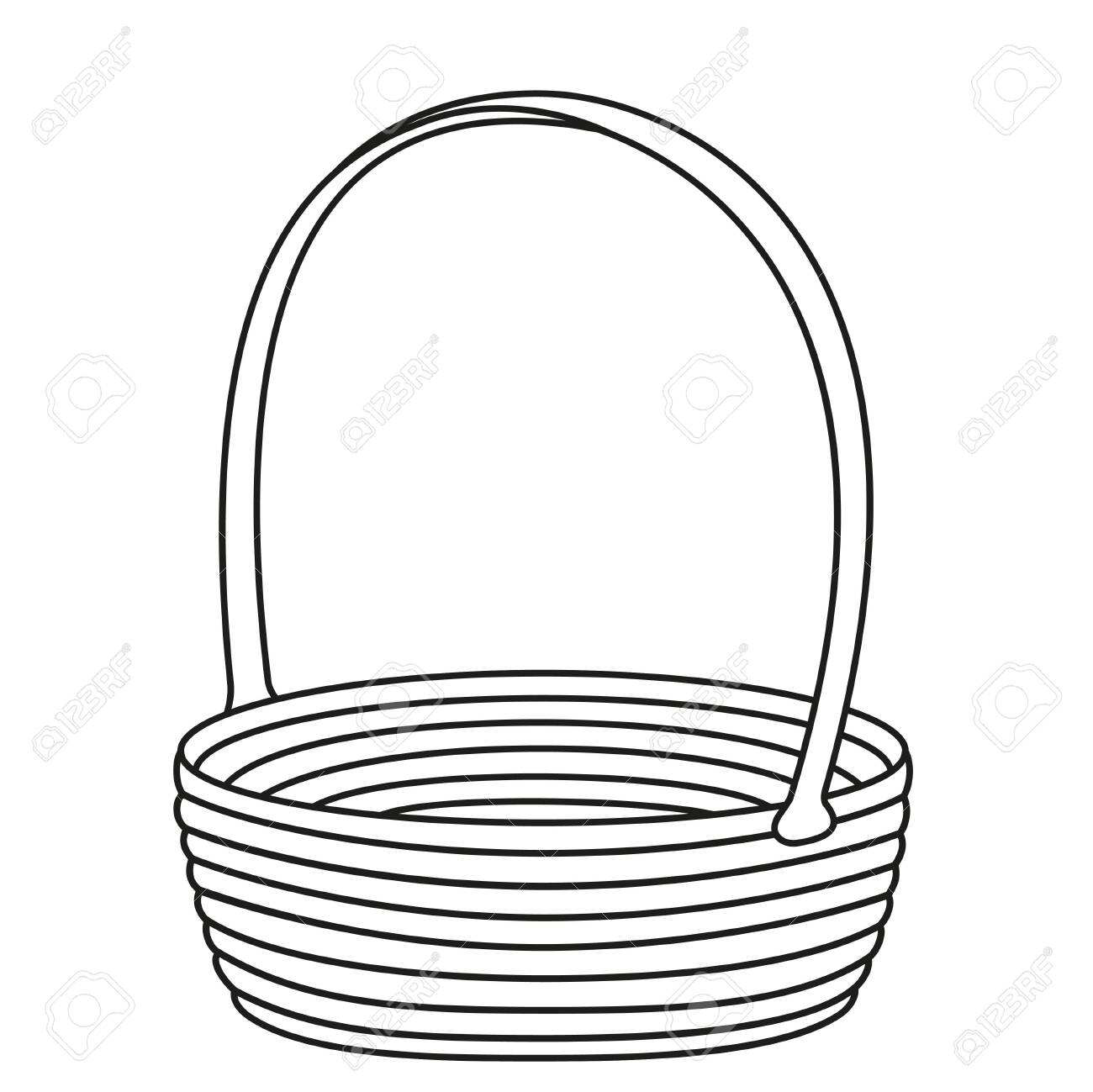 Line art black and white empty wicker basket. Farm eco bag. Easter themed vector illustration for icon, stamp, label, certificate, brochure, gift card, poster, coupon or banner decoration - 124250741