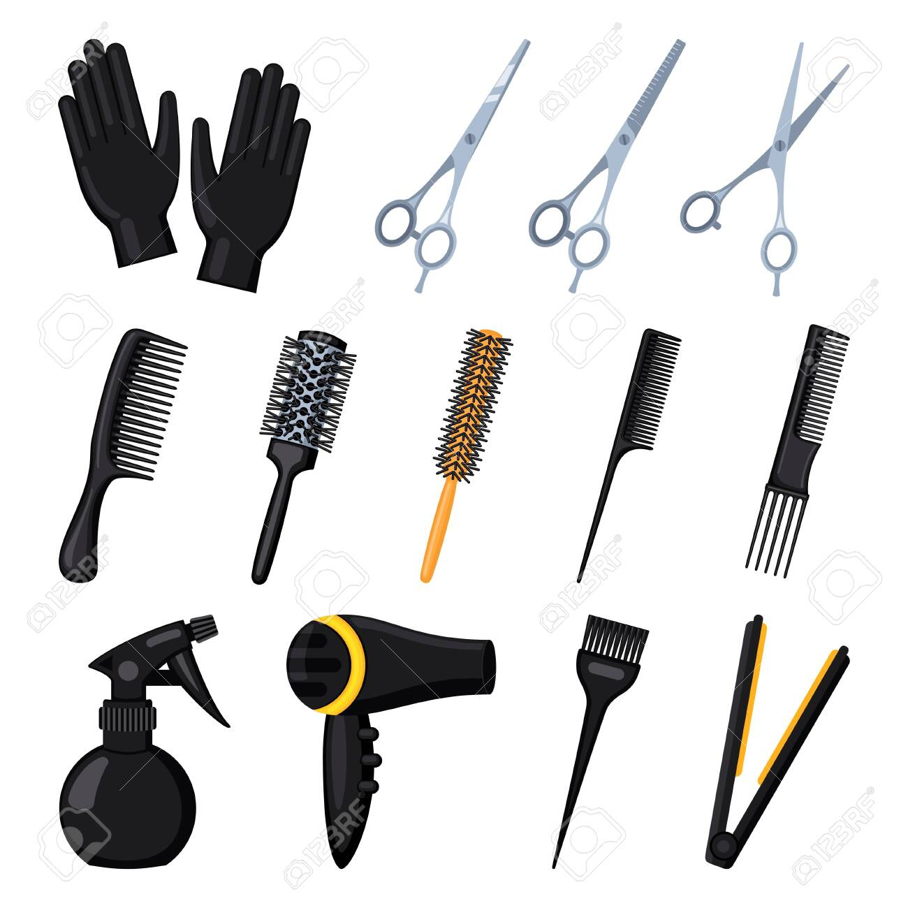 13 Cartoon Hairdresser Tools Beauty Salon Equipment Hair Dresser Royalty Free Cliparts Vectors And Stock Illustration Image 128604031