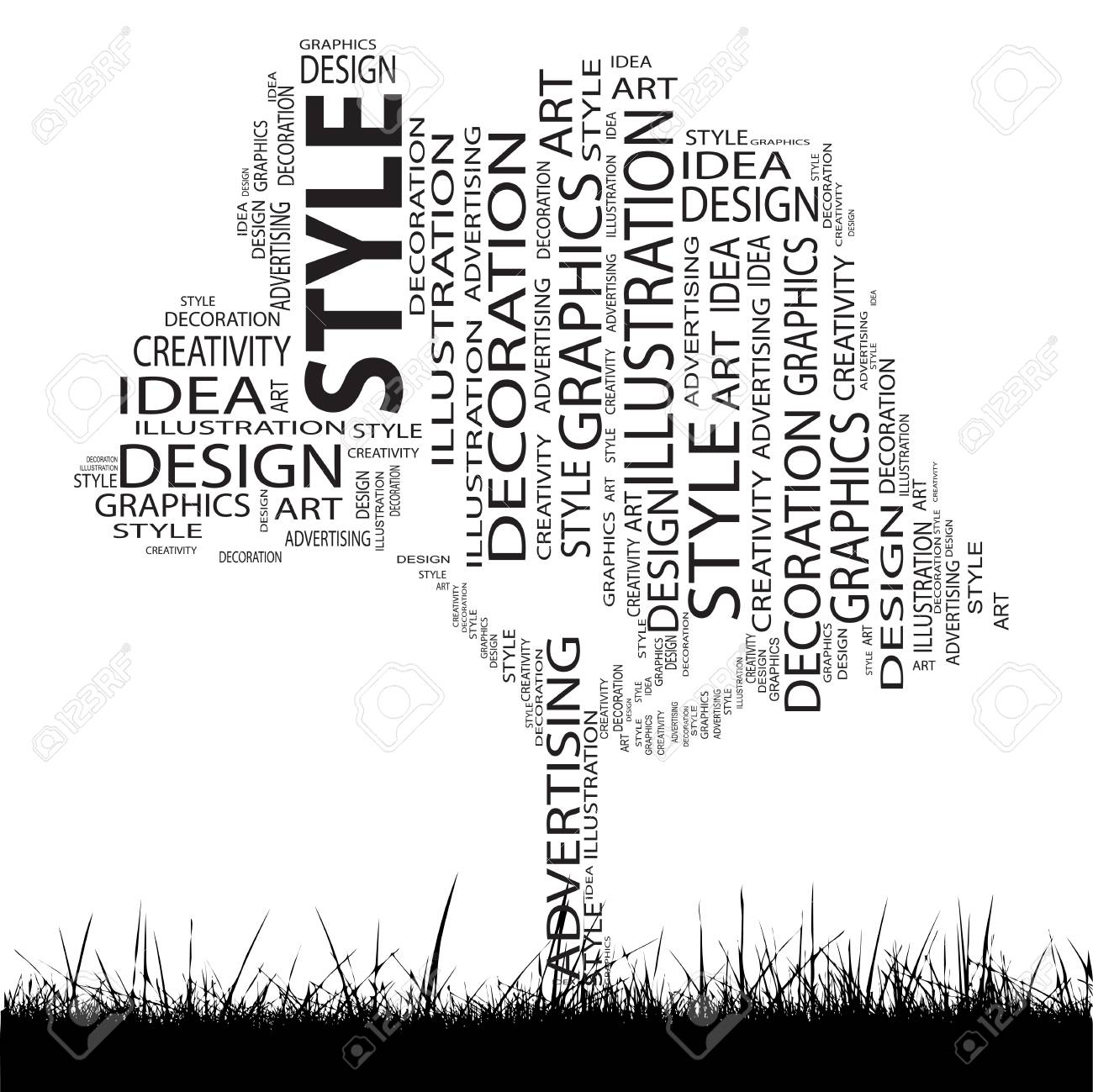 Conceptual Art Design Tree Word Cloud Grass Background