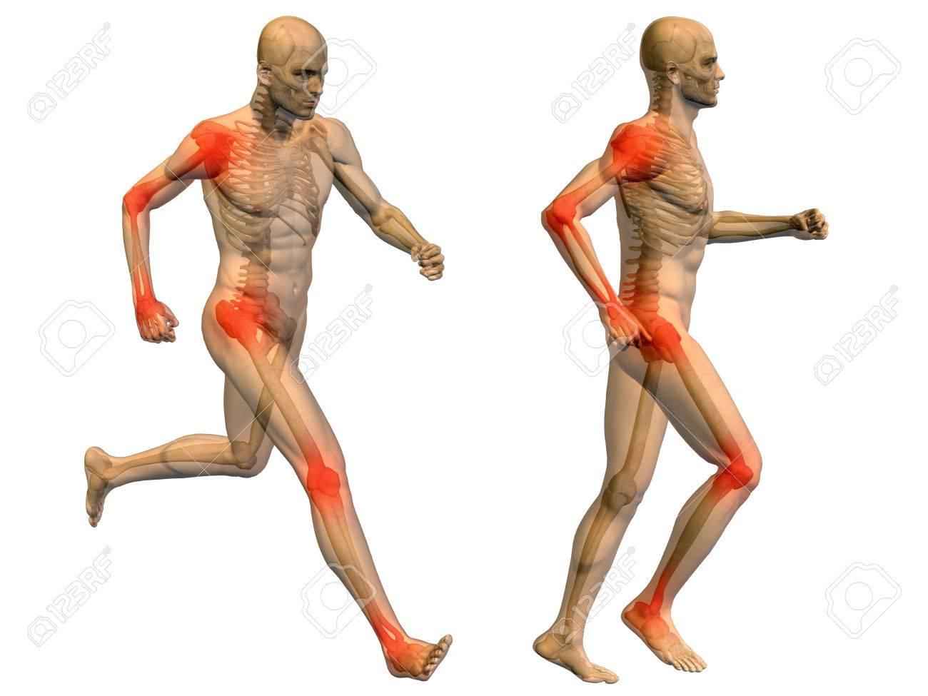 Aislado Conceptual Cuerpo Dolor En Las Articulaciones Hombre ...