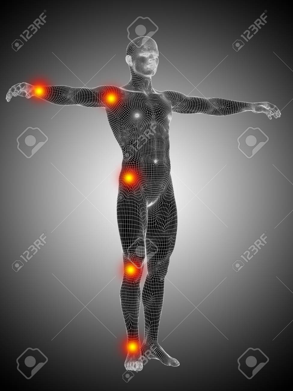 Conceptual Wireframe Human Or Man Anatomy Body With Joint Pain Stock ...
