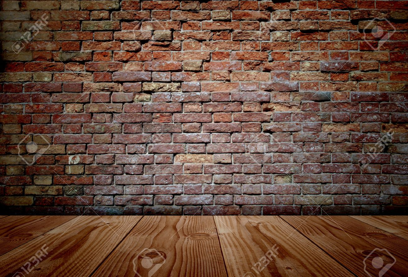 conceptual old vintage dark brick wall and wood floor background