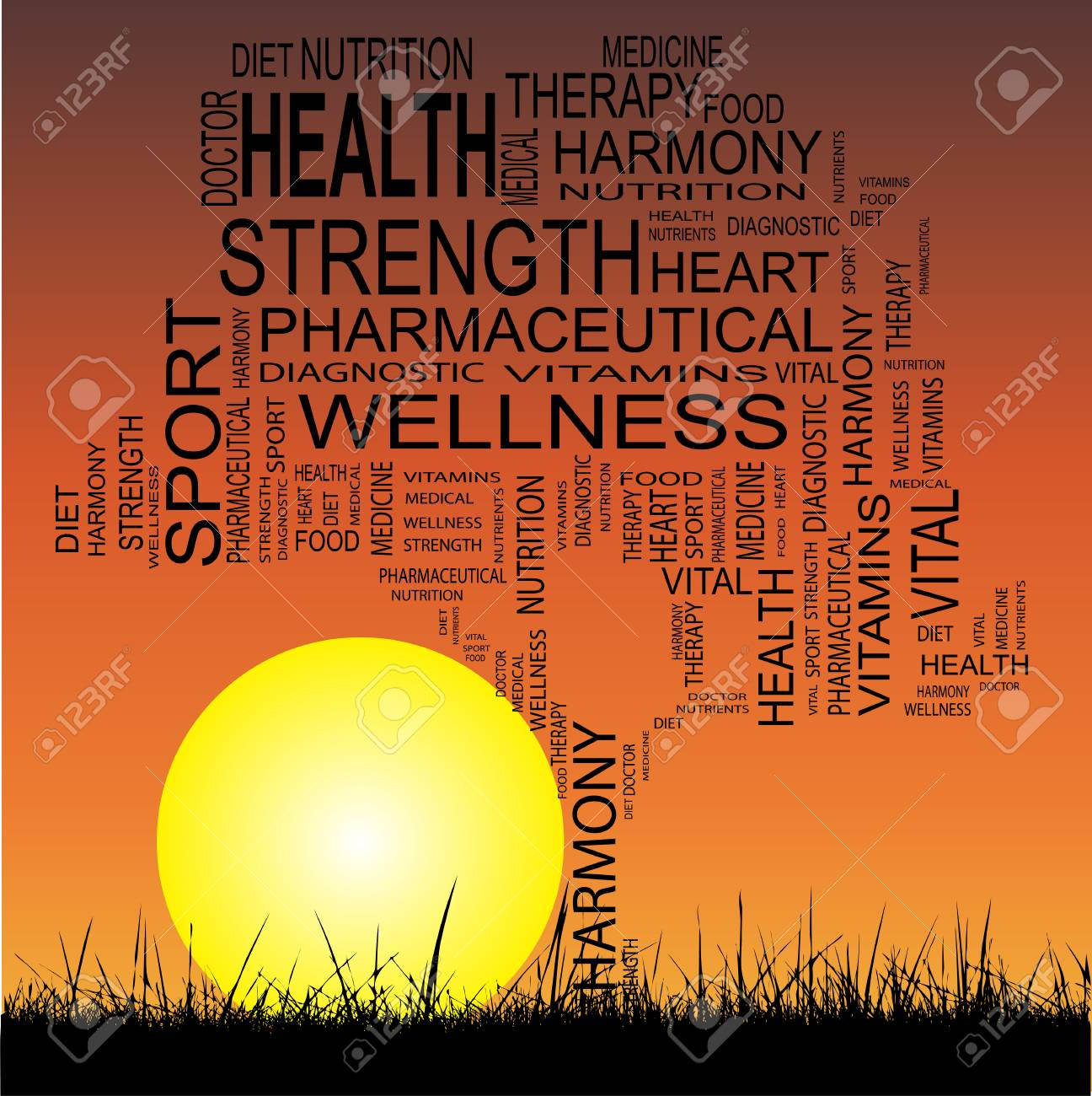 conceptual health tree at sunset word cloud with sun and grass stock photo 36021808