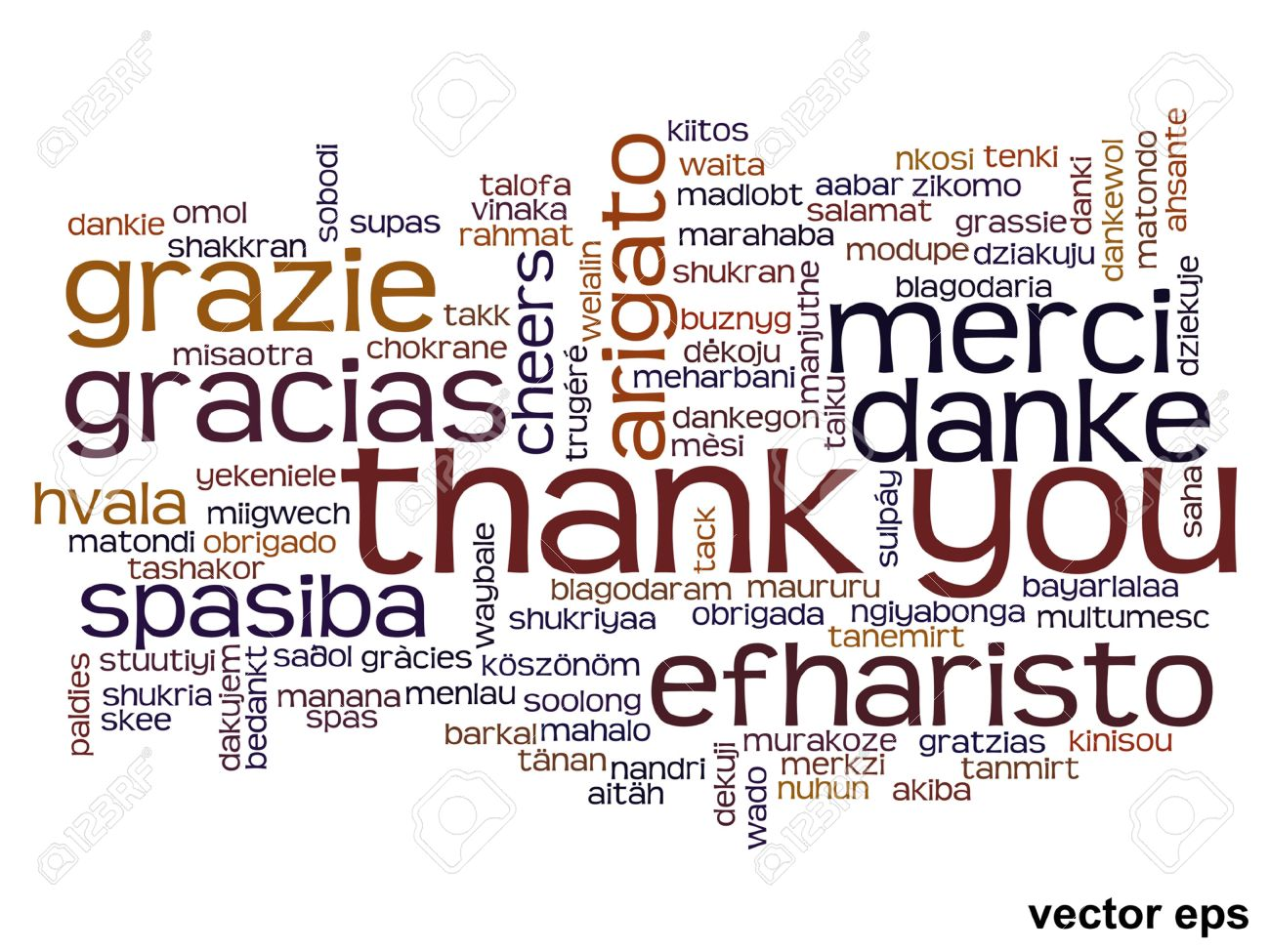 Vector conceptual thank you word cloud isolated for business or Thanksgiving Day - 36276796