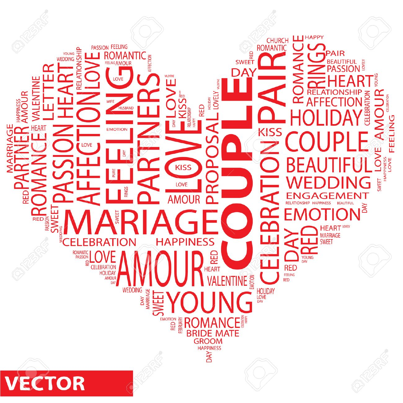 Conceptual Love Or Valentine Heart Shape Word Cloud Isolated On White Stock Vector