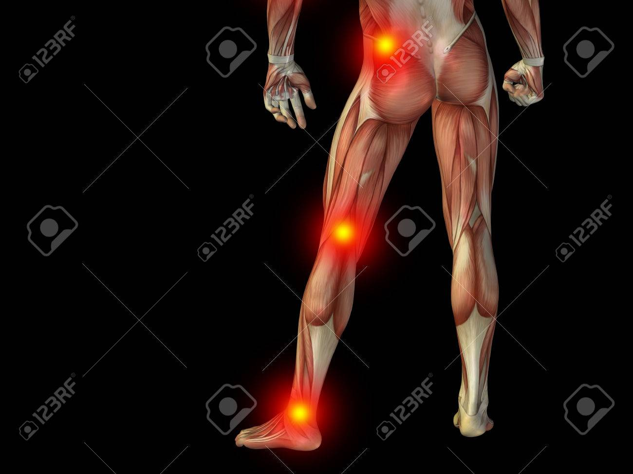 Conceptual human body anatomy articular pain on isolated on black background - 37633370