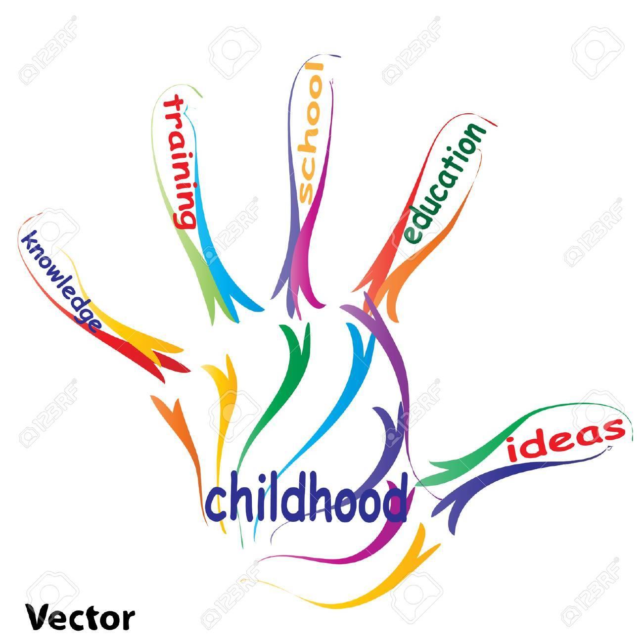 Vector Concept Or Conceptual Education Hand Print Word Cloud ...