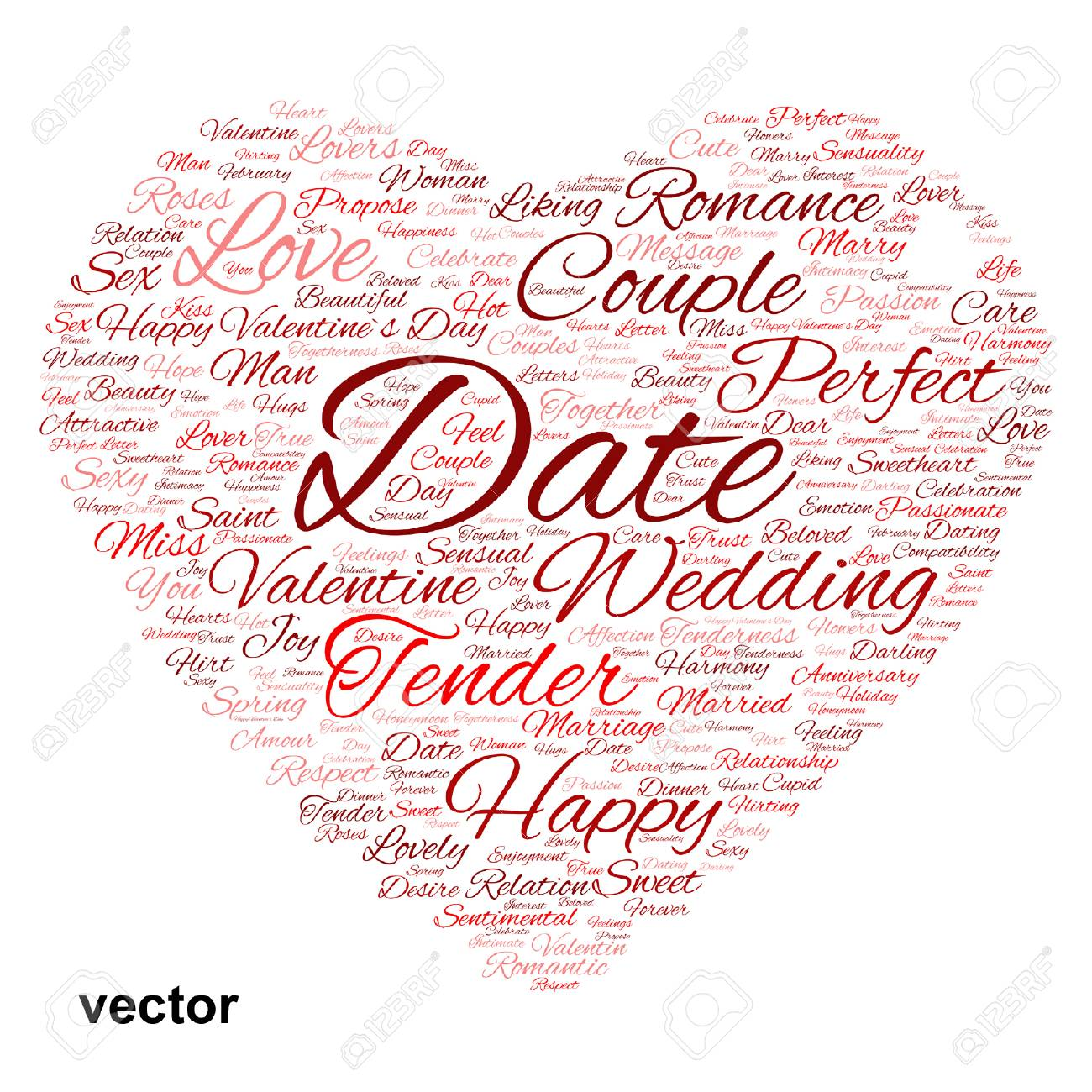 Conceptual Love Or Valentine Heart Shape Word Cloud Isoalted On White Stock Vector