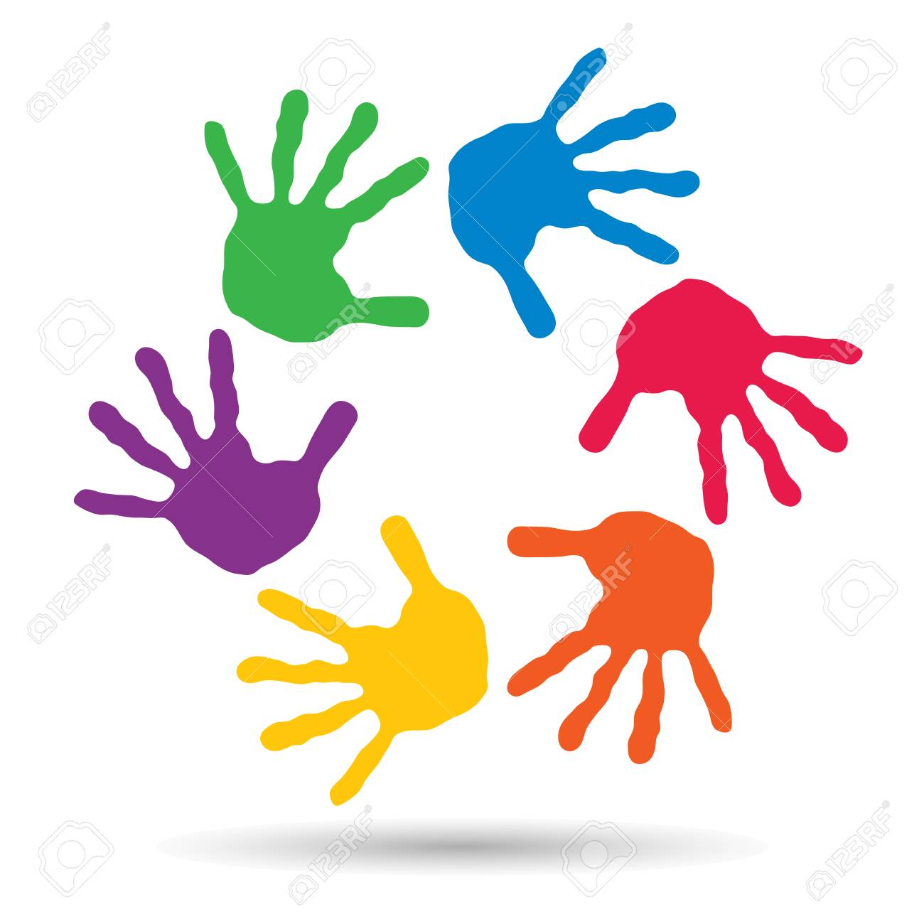Concept Or Conceptual Children Painted Hand Print Isolated On
