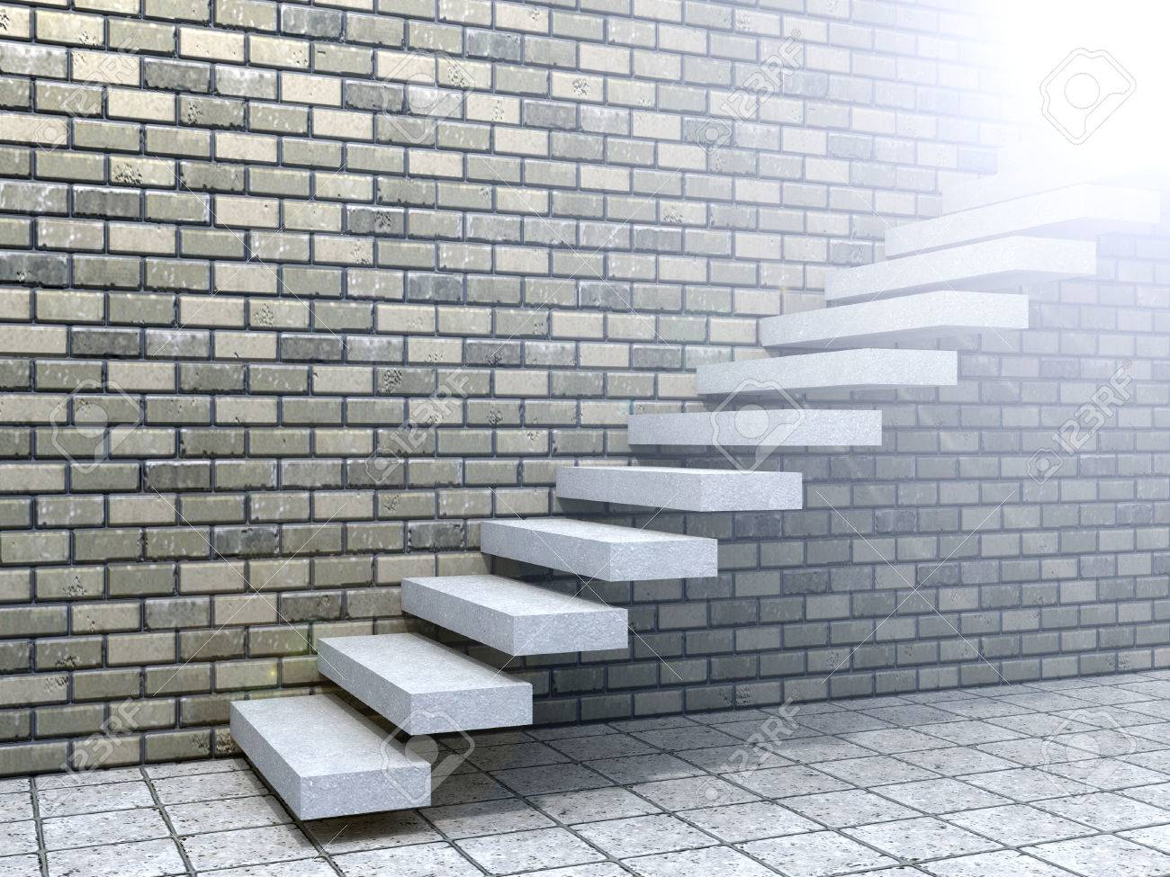 Conceptual White Stone Or Concrete Stair Or Steps Near A Brick Wall  Background Stock Photo