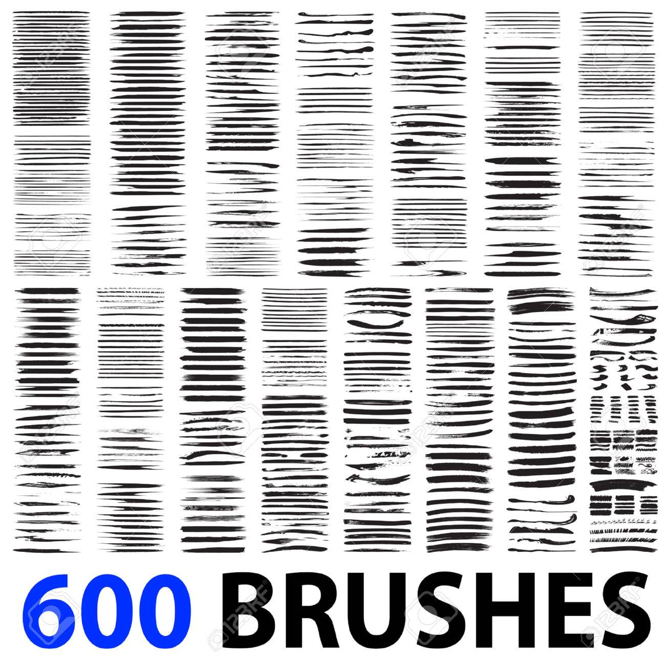 Vector very large collection or set of 600 artistic black paint brush strokes isolated on white background - 50460366