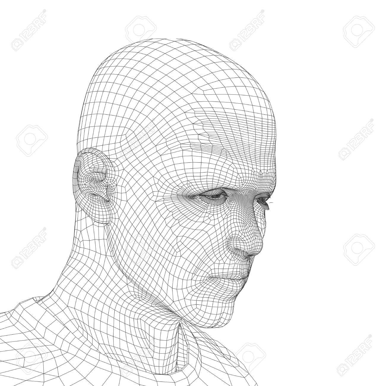 Concept Or Conceptual 3D Wireframe Young Human Male Or Man Face ...