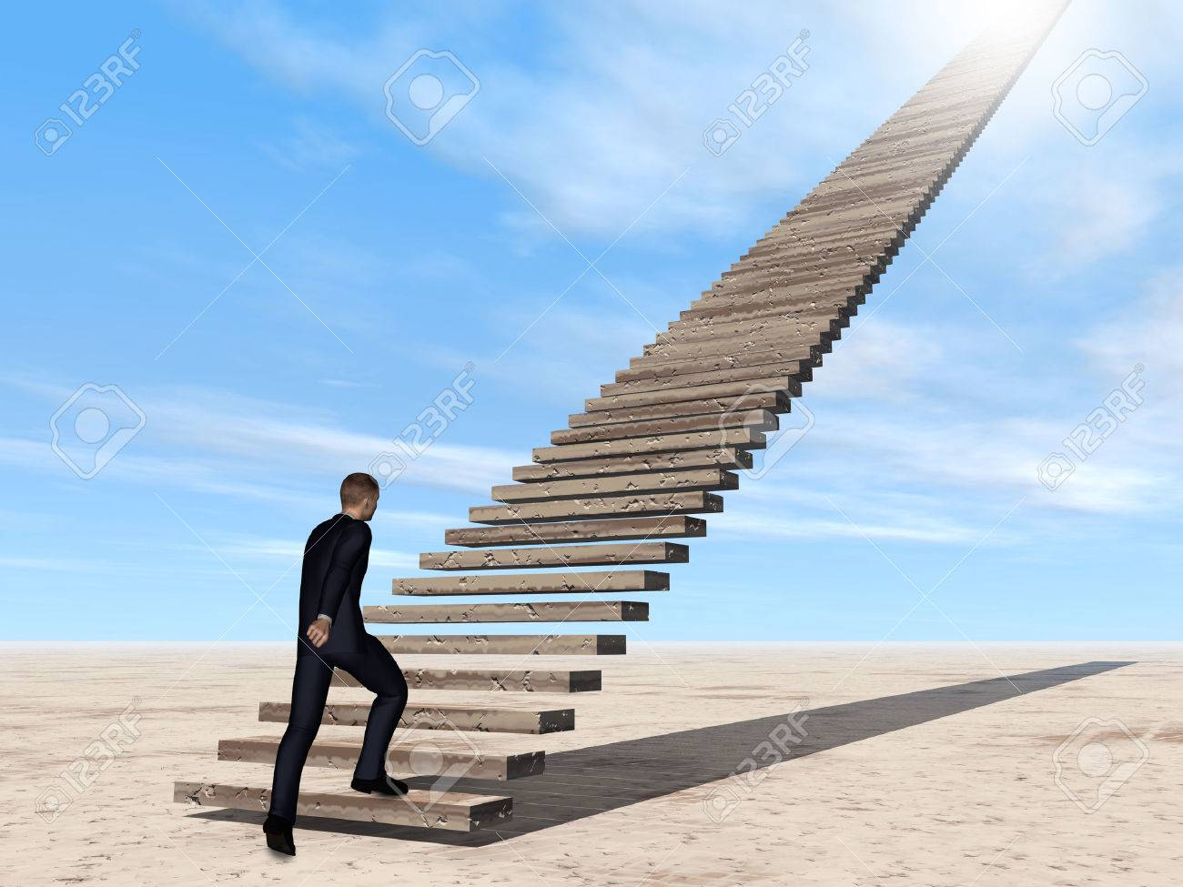 Conceptual 3D business man walking or climbing stair on sky background with clouds - 50899642