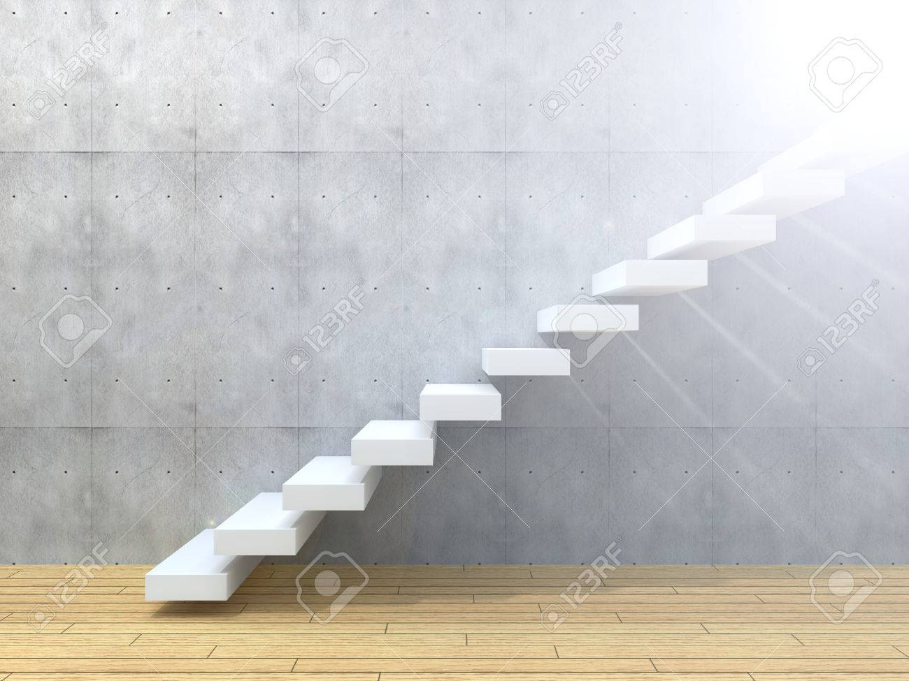 Conceptual White Stone Or Concrete Stair Or Steps Near A Wall Background  Stock Photo   50904904