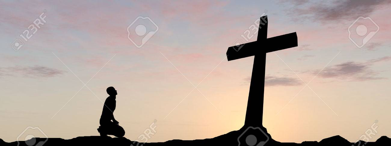 Conceptual religion black cross with a man praying at sunset background banner - 51373572