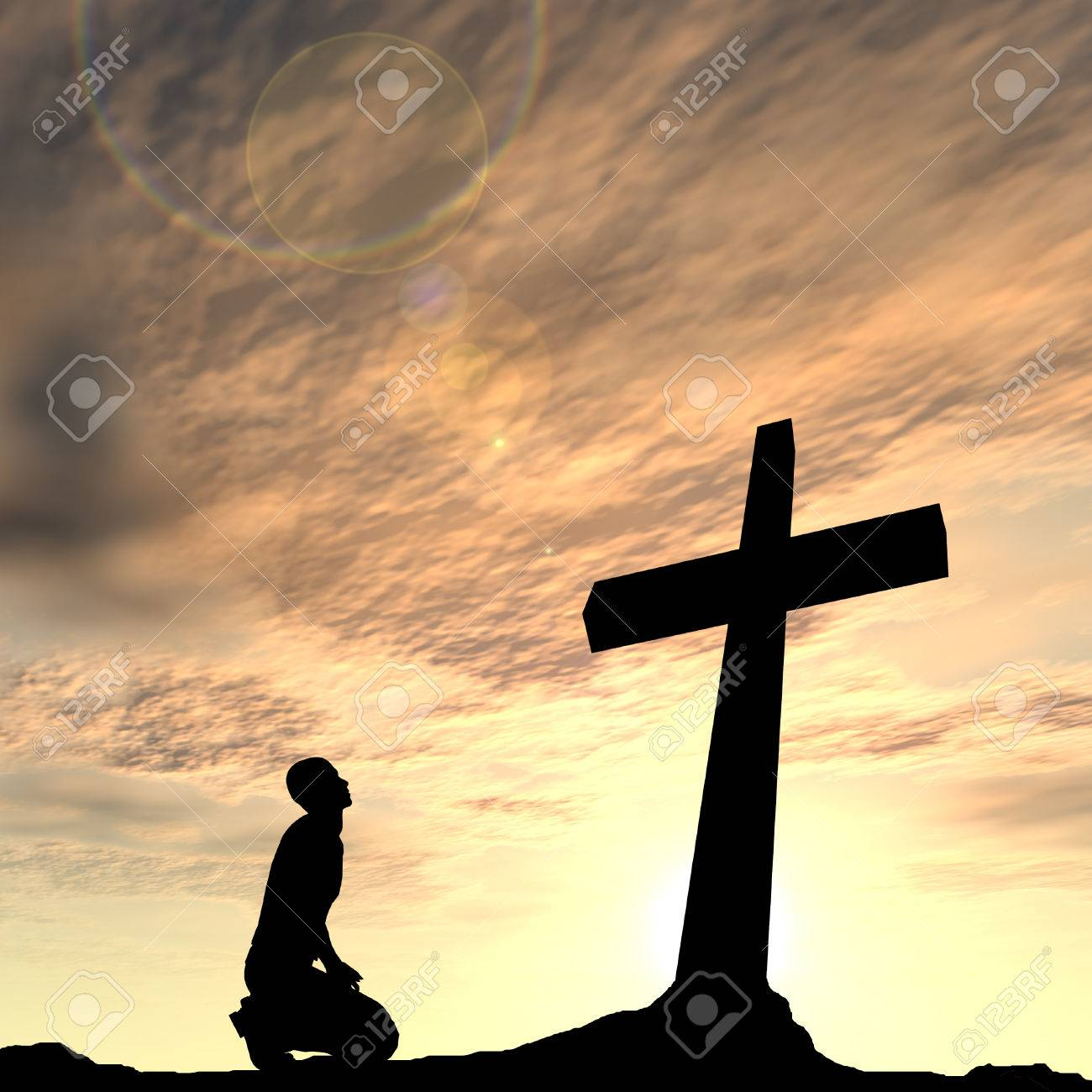 Conceptual religion black cross with a man praying at sunset background - 53346449