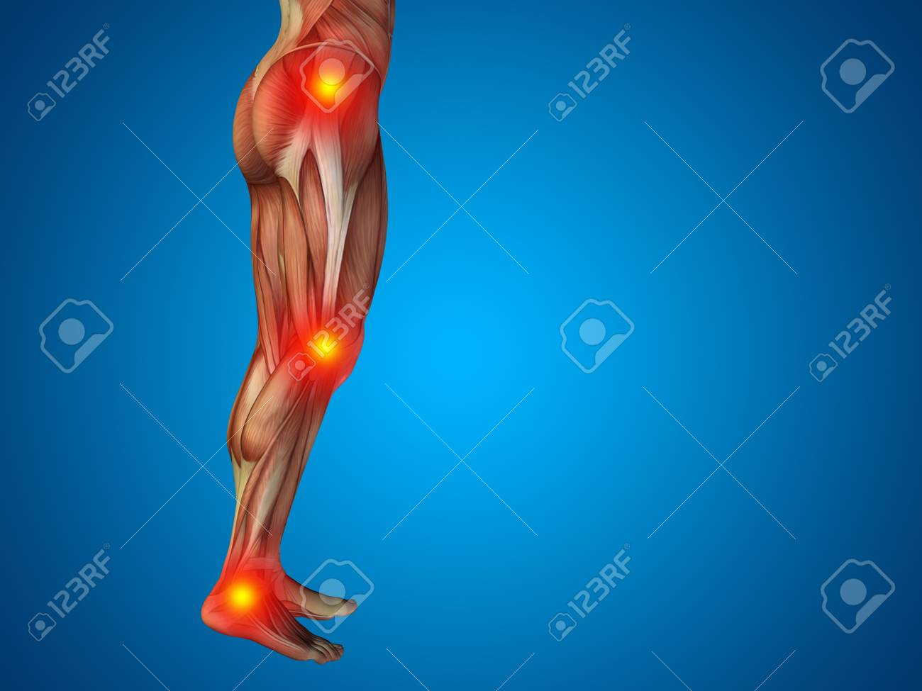 Conceptual Human Body Anatomy Articular Pain Blue Background Stock