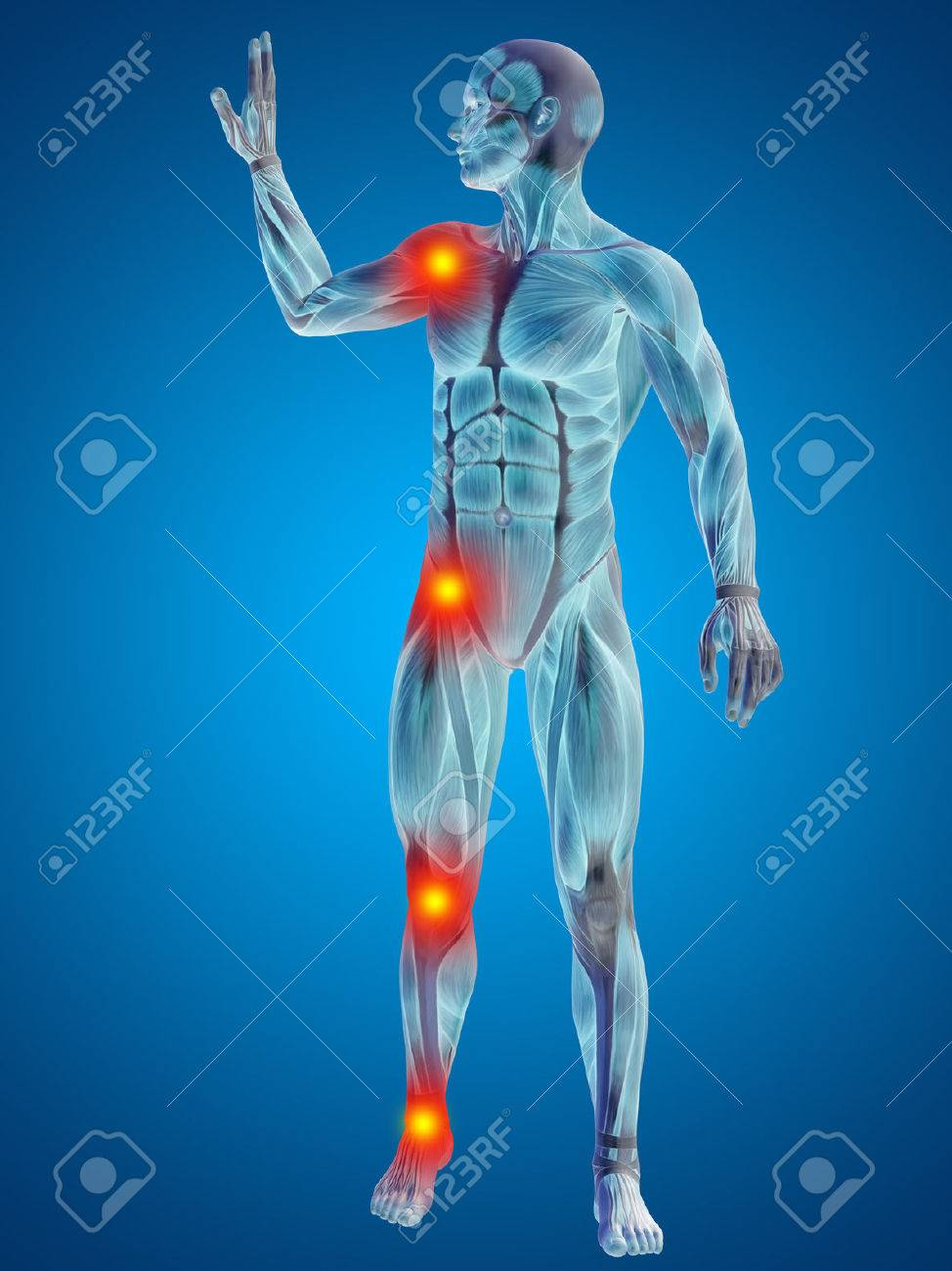 Conceptual 3d Human Man Anatomy Joint Pain Body On Blue Background