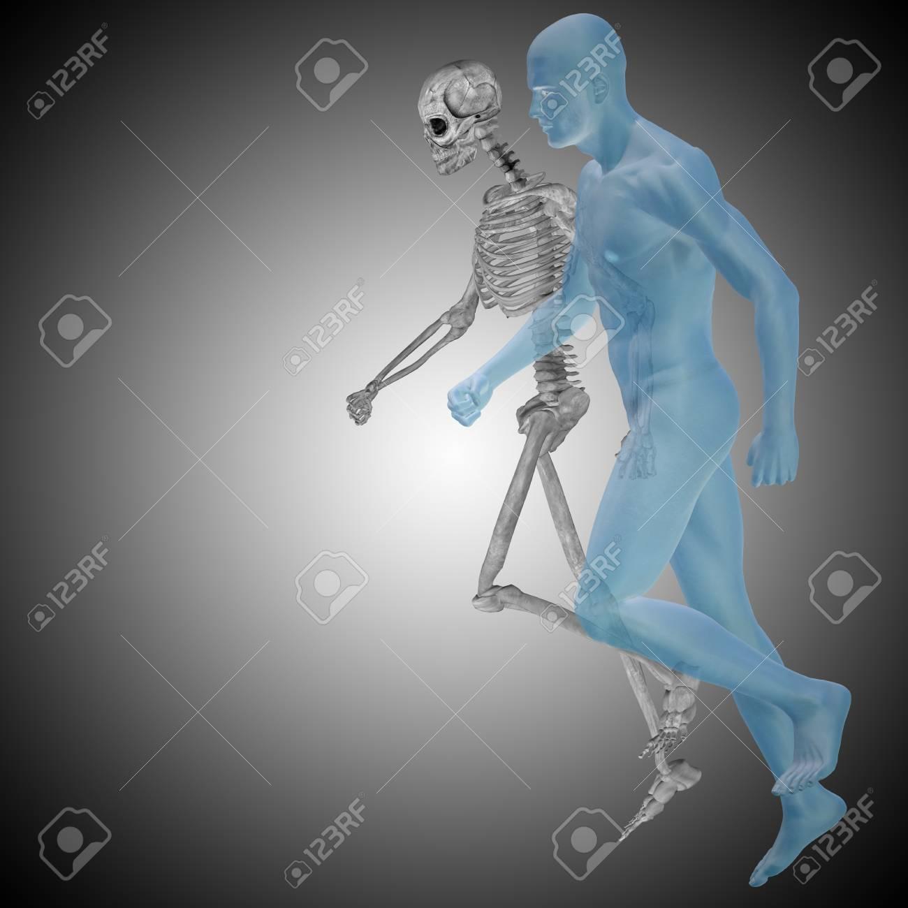 Konzeptionelle 3D Menschlichen Mann Mit Knochen Für Anatomie ...