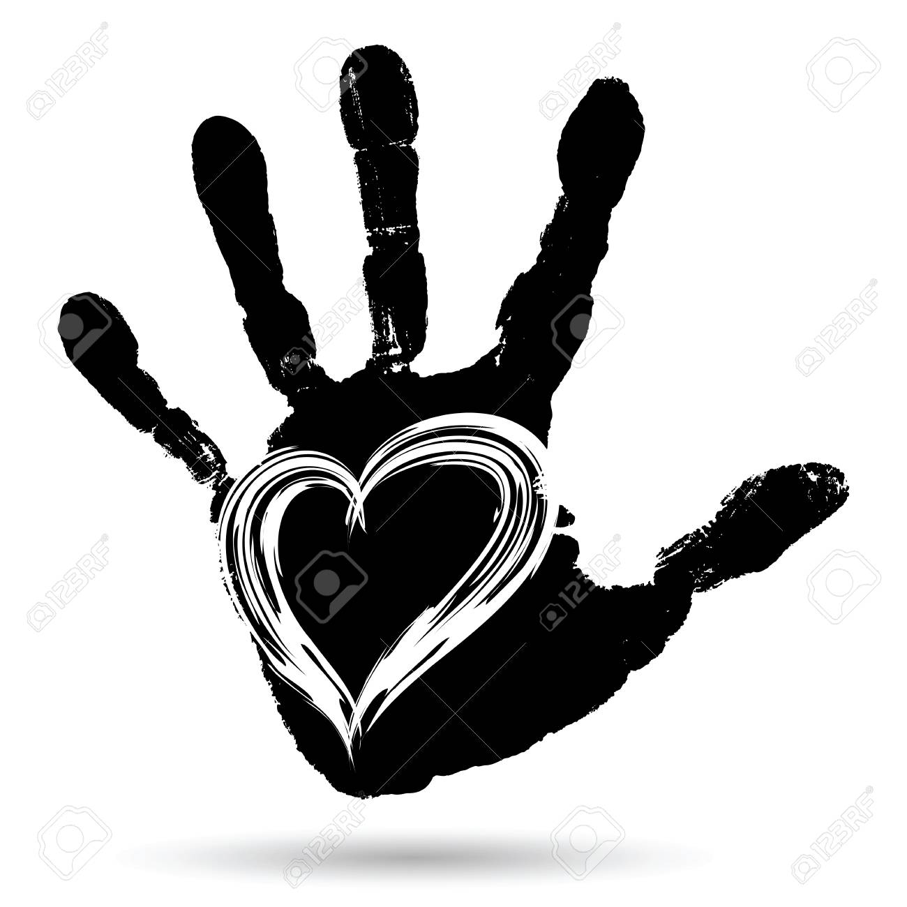Conceptual Cute Paint Human Hand Or Handprint Of Child With Heart Shape Isolated On White Background