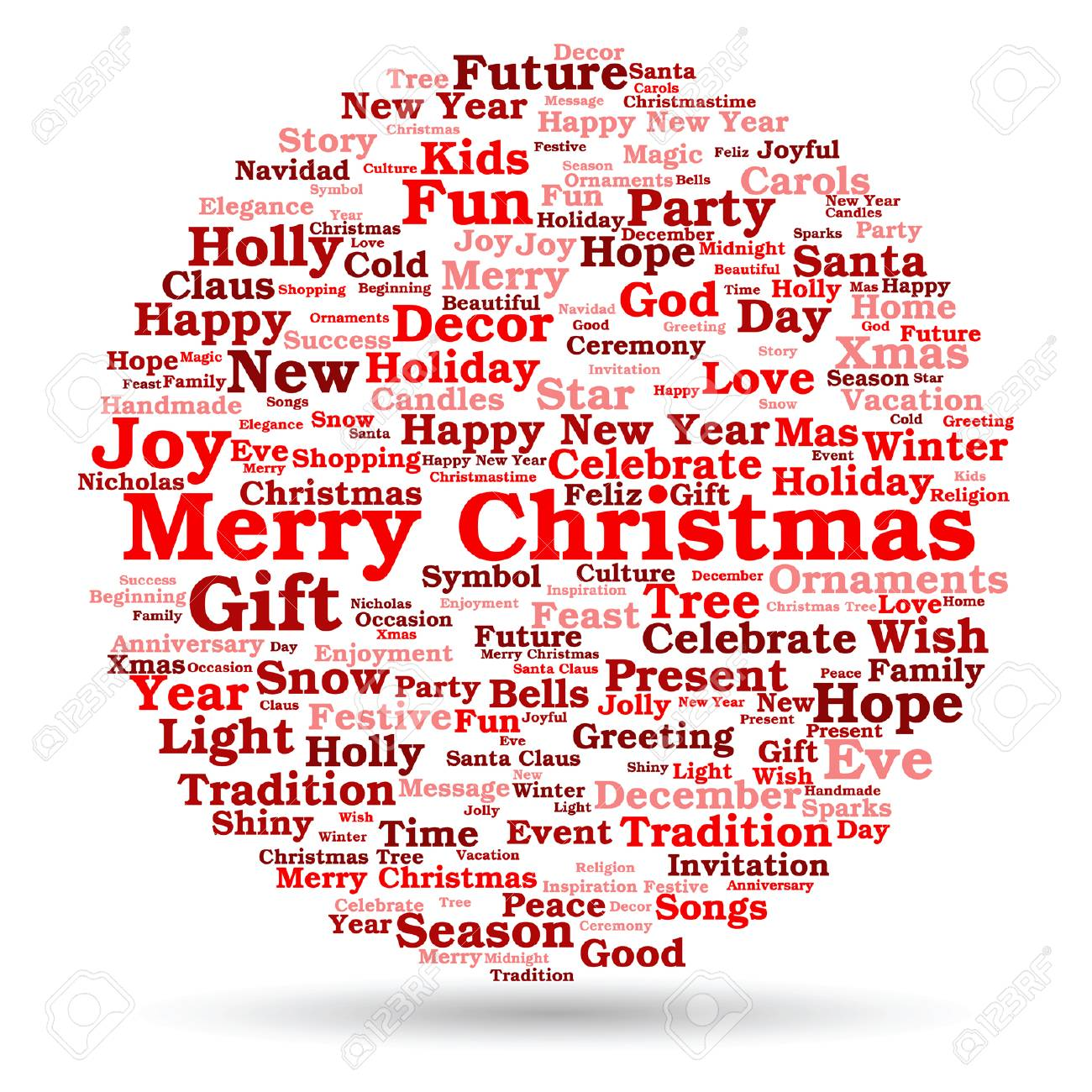conceptual merry christmas holiday or happy new year winter word cloud on white background stock vector