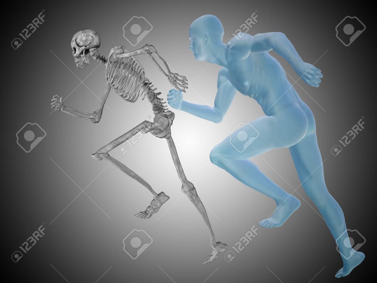 Hombre Humano 3D Conceptual Con Los Huesos De La Anatomía, La ...