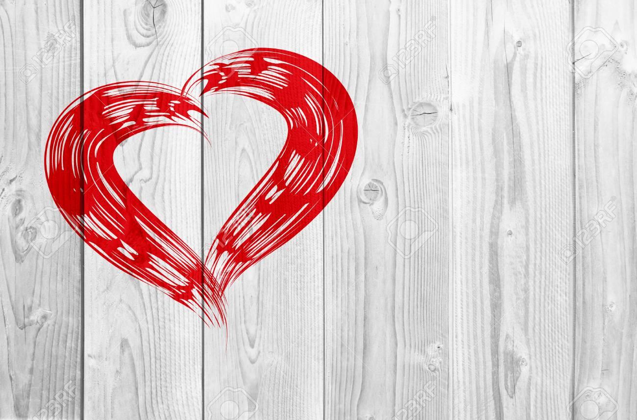 Conceptual Pintado Rojo Símbolo De Forma De Corazón Amor Símbolo ...