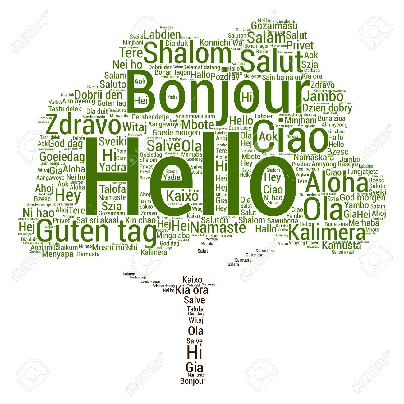 Vector Conceptual Abstract Hello Or Greeting International Tree