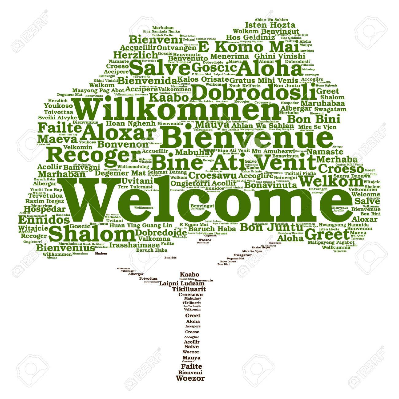 Vector Concept Or Conceptual Welcome Or Greeting International