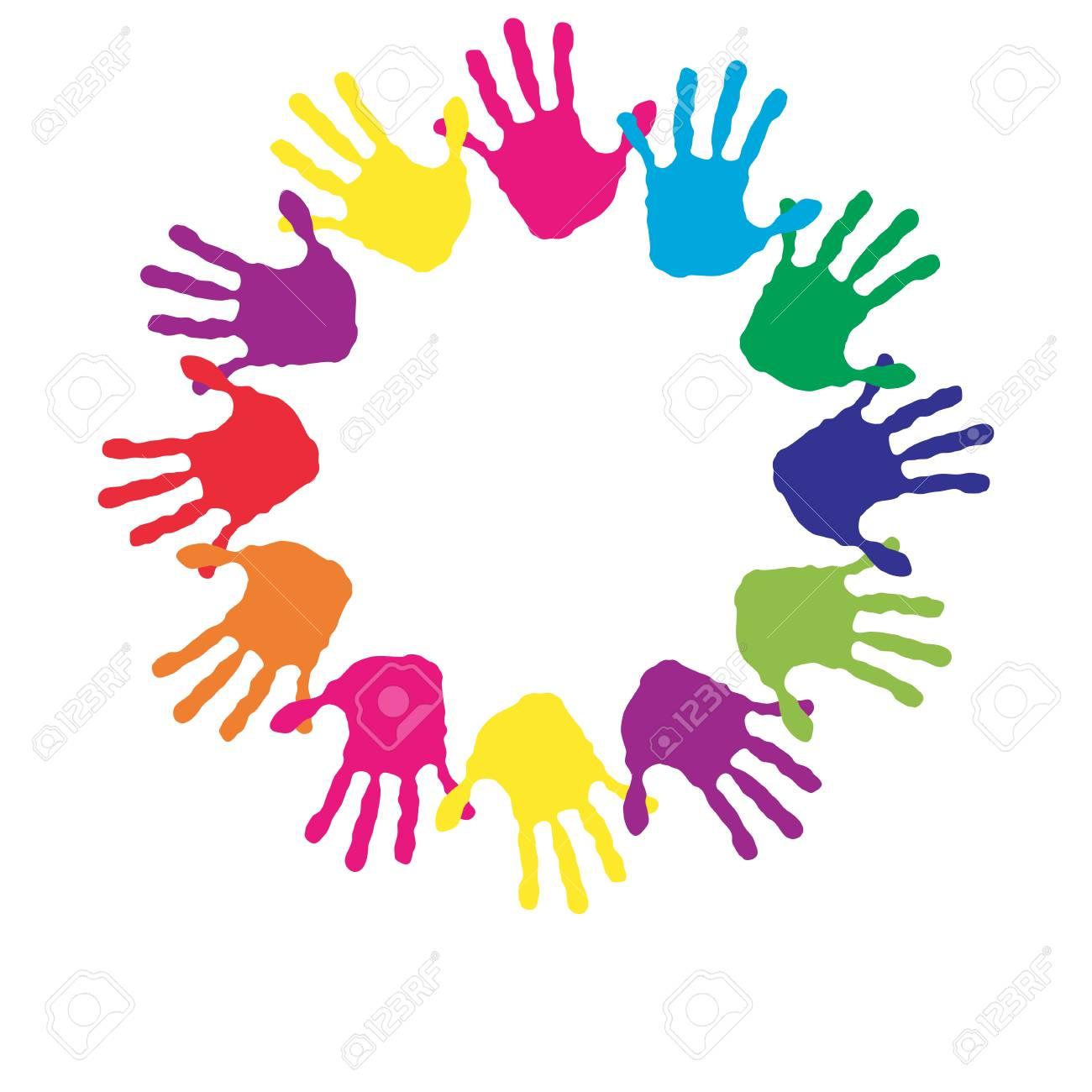 Konzept Oder Konzeptionelle Kinder Gemalt Handabdruck Auf Weissem
