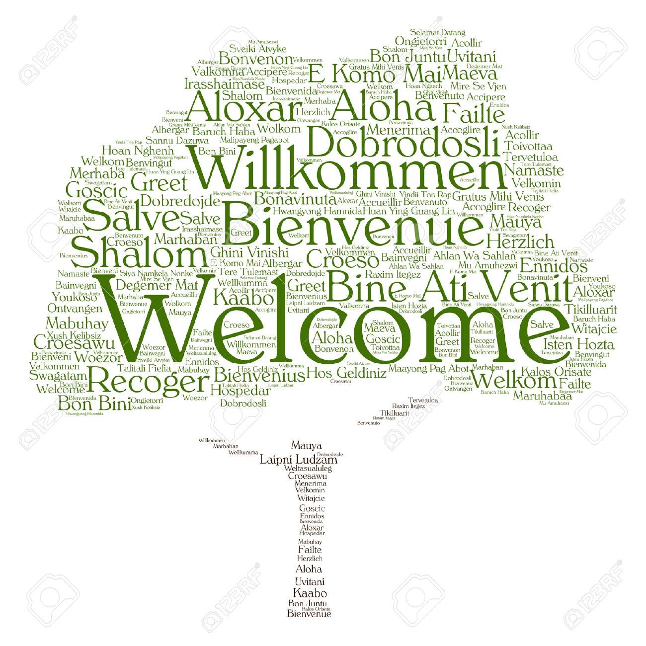 Vector Concept Abstract Tree Welcome Or Greeting International