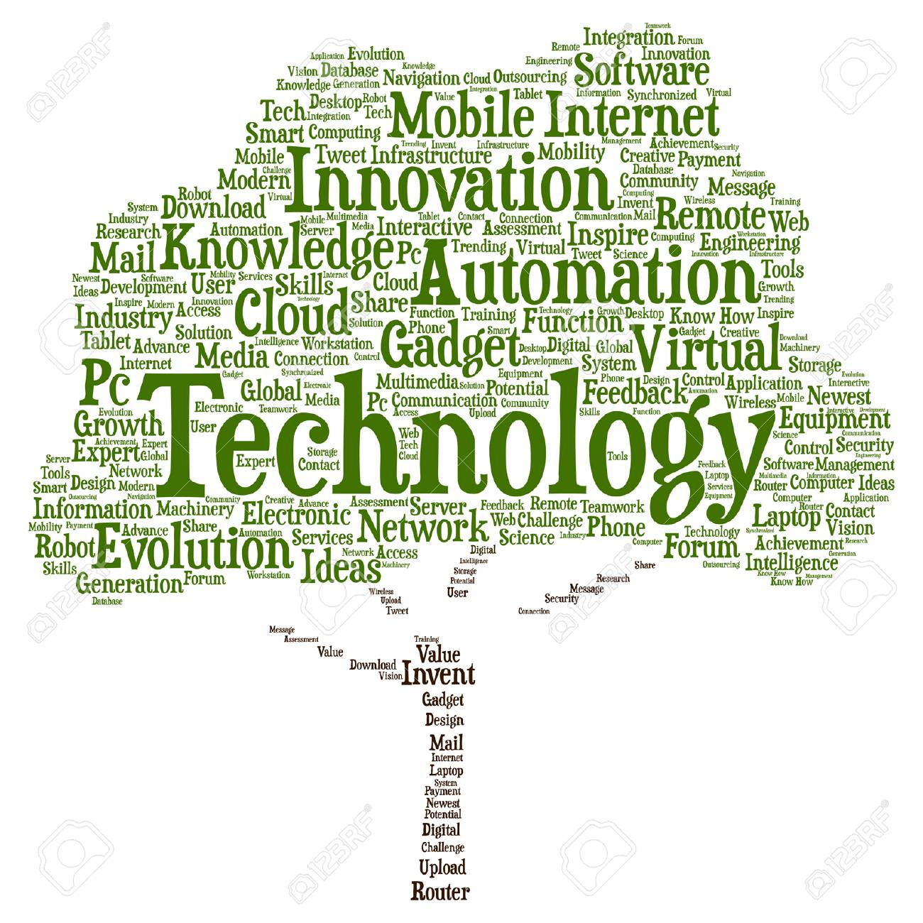Vector concept or conceptual digital smart technology tree word.