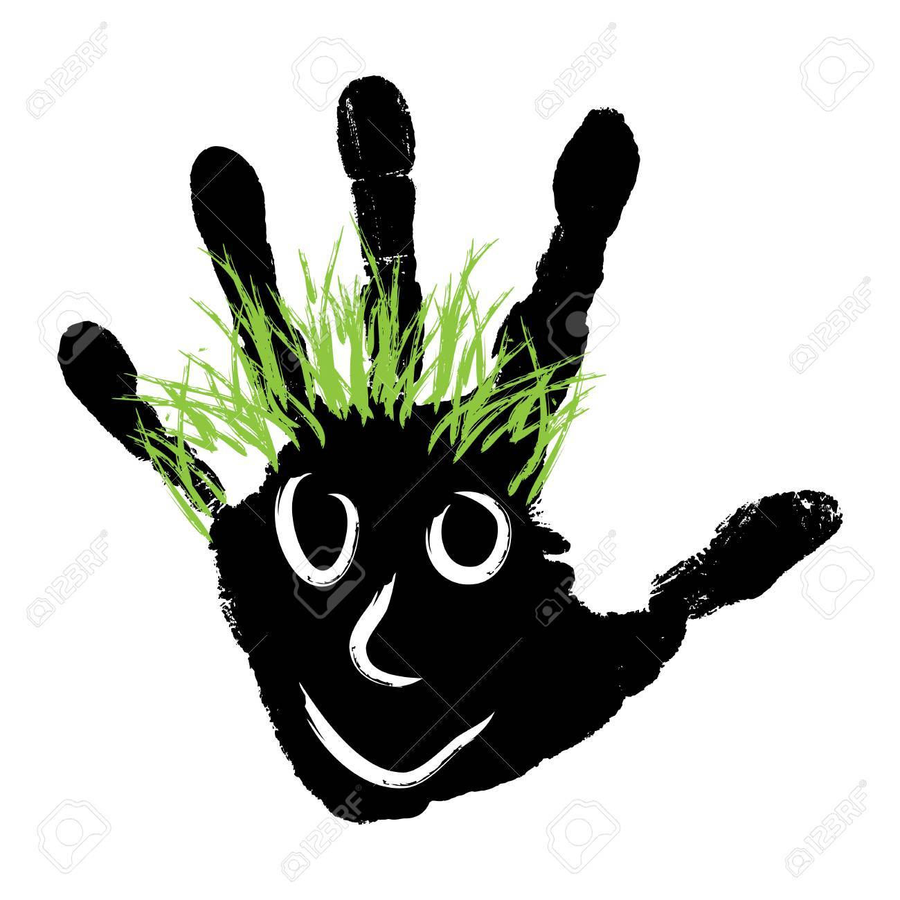 Conceptual Cute Paint Human Hand Or Handprint Of Child With Happy Face And Green Hair Isolated