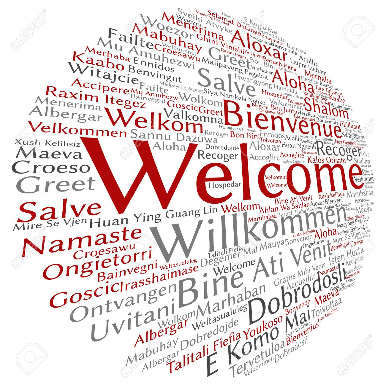 Concept Abstract Round Welcome Or Greeting International Word Cloud