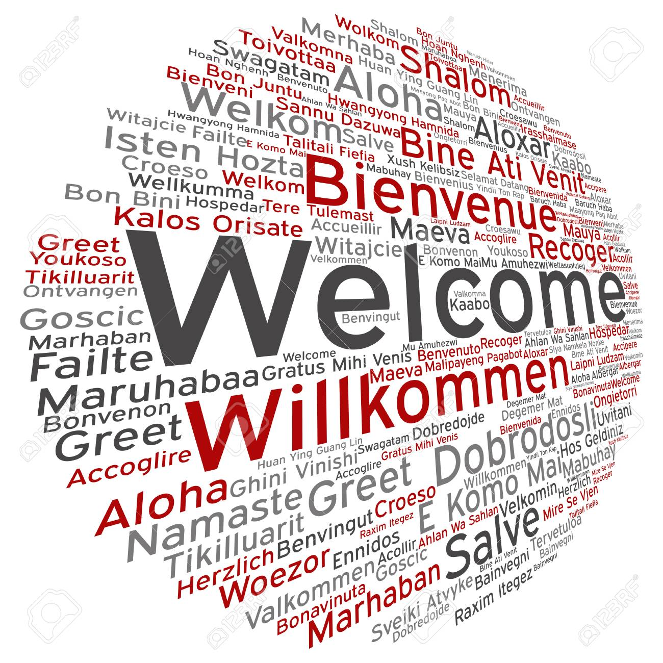 Concept Conceptual Abstract Welcome Or Greeting International Round