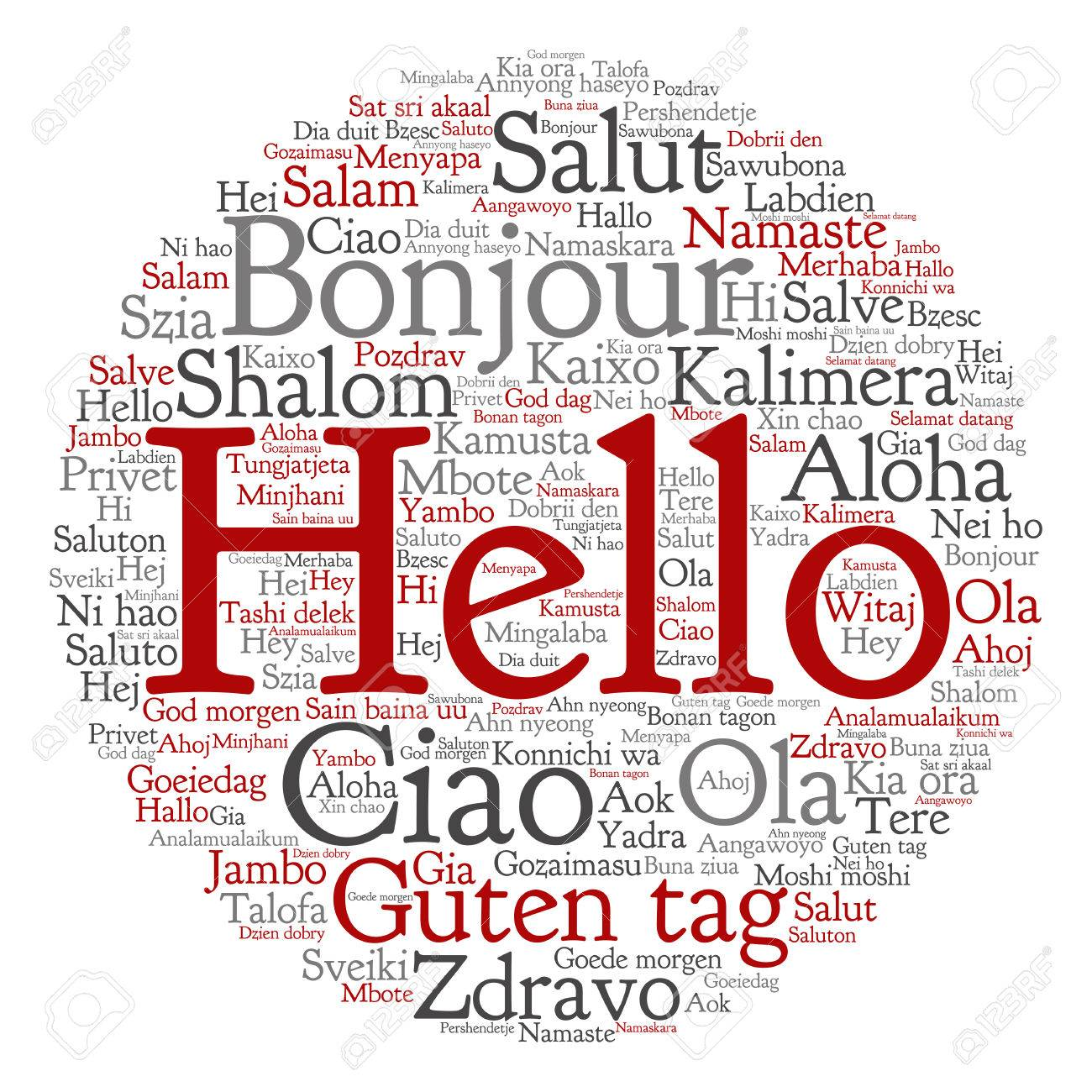 Conceptual Abstract Hello Or Greeting International Word Cloud