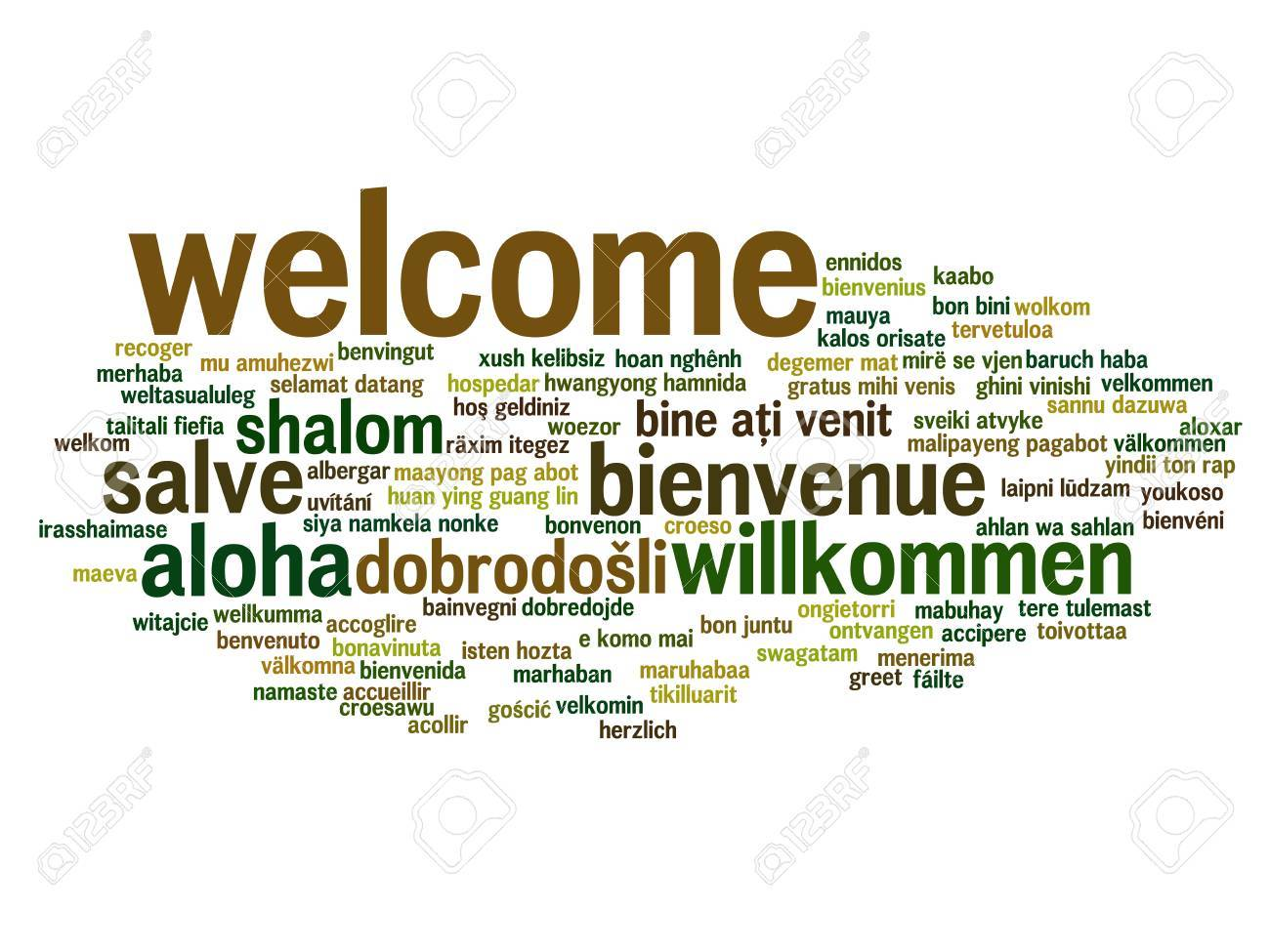 Concept Or Conceptual Welcome Or Greeting International Word Stock