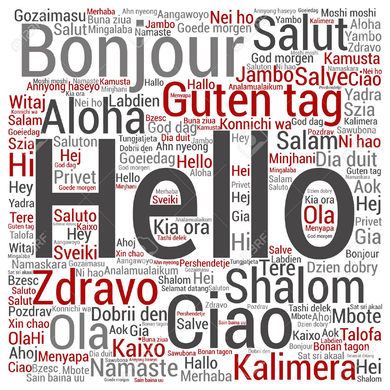 Vector Concept Or Conceptual Square Hello Or Greeting International
