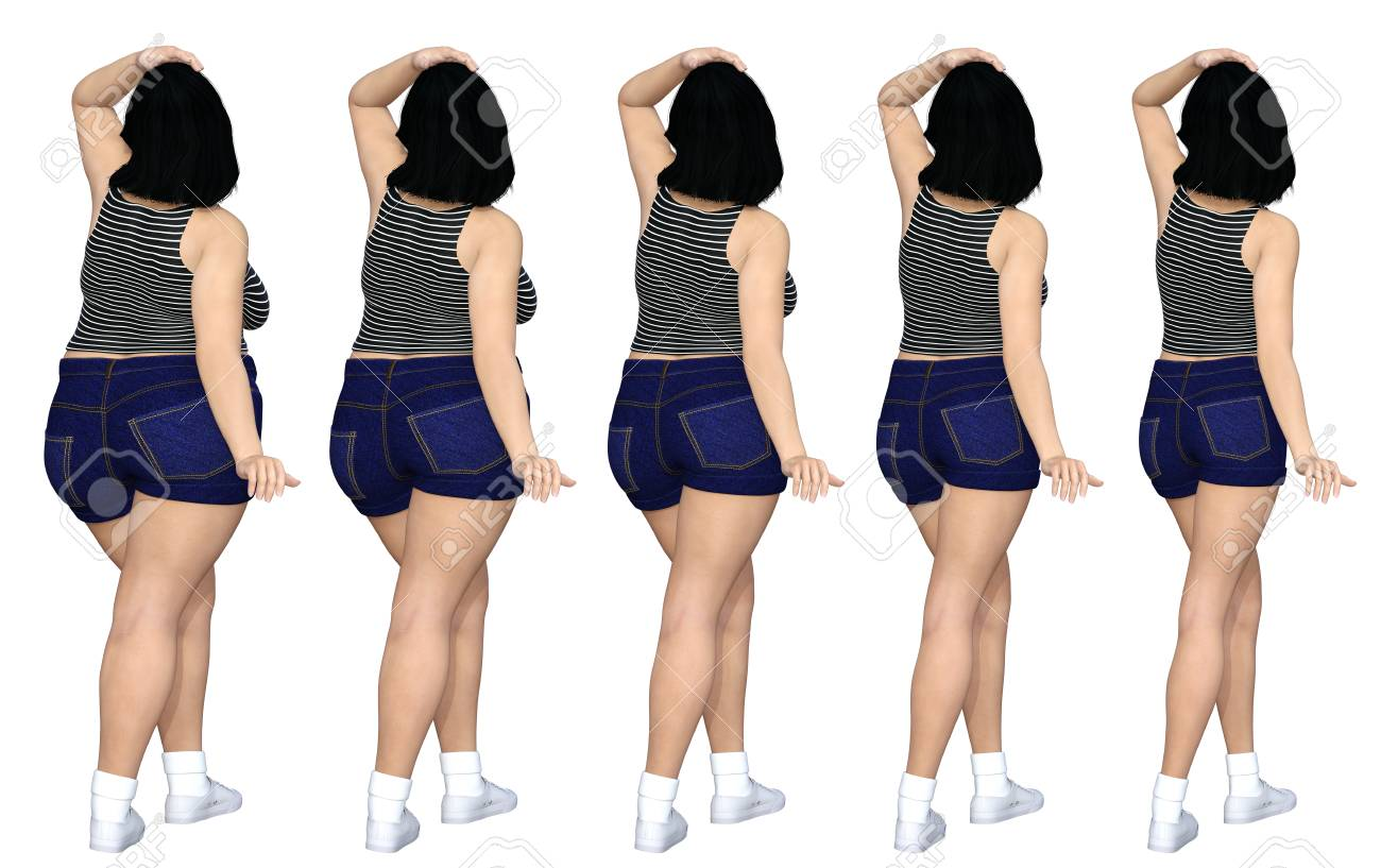 Conceptual Dieting Fat Or Overweight Obese Female Vs Slim Fit With