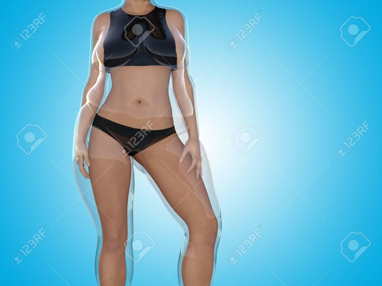 Conceptual Gorda Sobrepeso Obeso Femenino Frente A Cuerpo Delgado ...